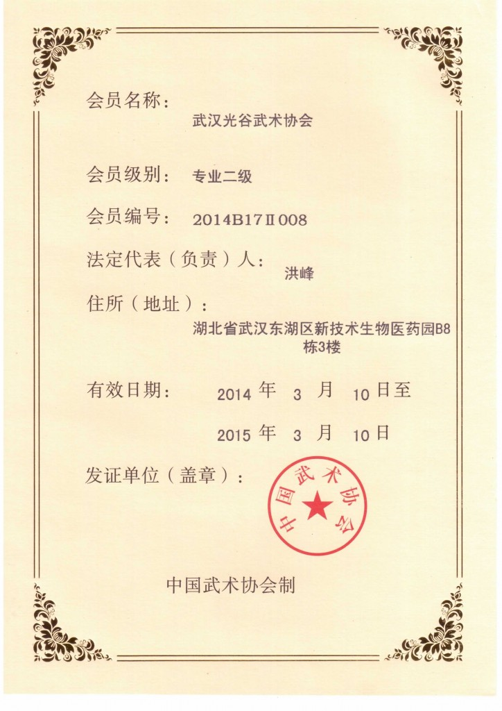武汉光谷武术协会 专业二级 单位会员证书
